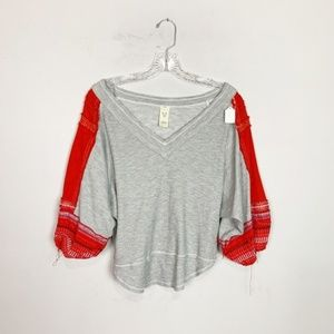 Free People grey & red embroidered knit top XS